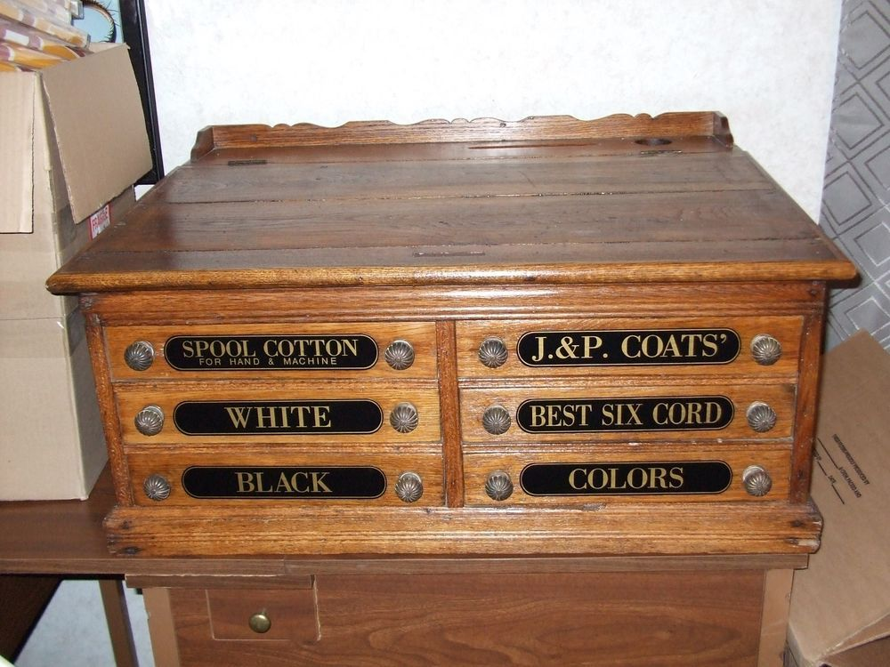 Very Large 6 drawer J & P Coats Spool Cabinet Gorgeous | Drawers ...