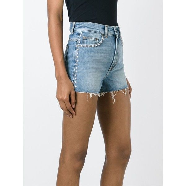 High-waisted denim shorts Saint Laurent Shipping Outlet Store Online Multi Coloured JP0jBwG
