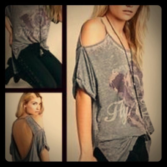 Free People graphic tee Free People graphic tee- excellent condition. Open back, oversized, hi-low top. Super soft cotton. Free People Tops Tees - Short Sleeve