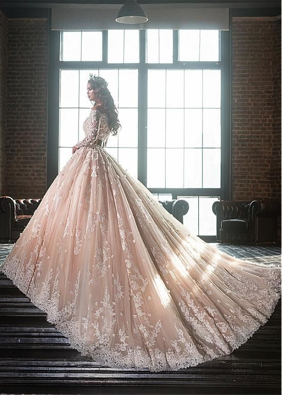 Floral Lace & Tulle Off-shoulder Fairy Bridal Ball Gown - VQ