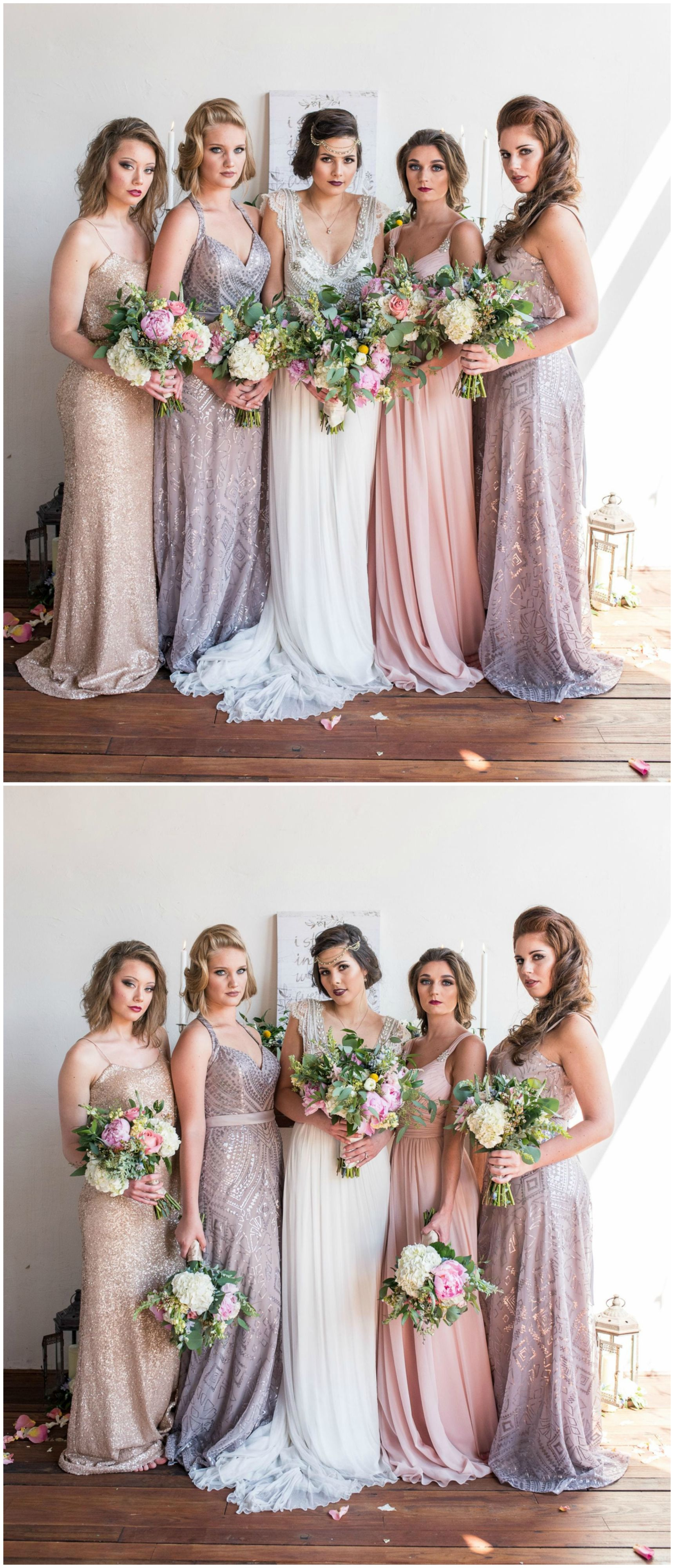 Vintage inspired gatsby glam styled shoot beaded bridesmaid gowns sparkly dresses 1920s inspired gatsby glam wedding fashion ombrellifo Choice Image