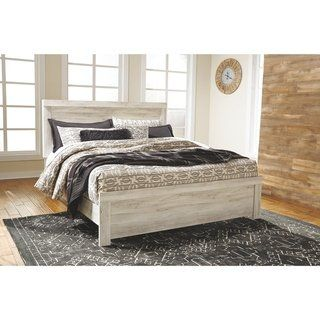The Gray Barn Lyme Park Whitewash Panel Bed King Casual Rustic Farmhouse Mattress Furniture Panel Bed King Storage Bed