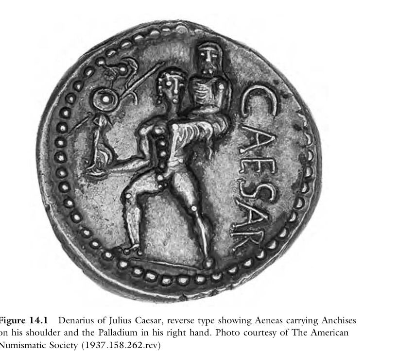 Denarius Of Julius Caesar Showing Aeneas Fleeing Troy With His