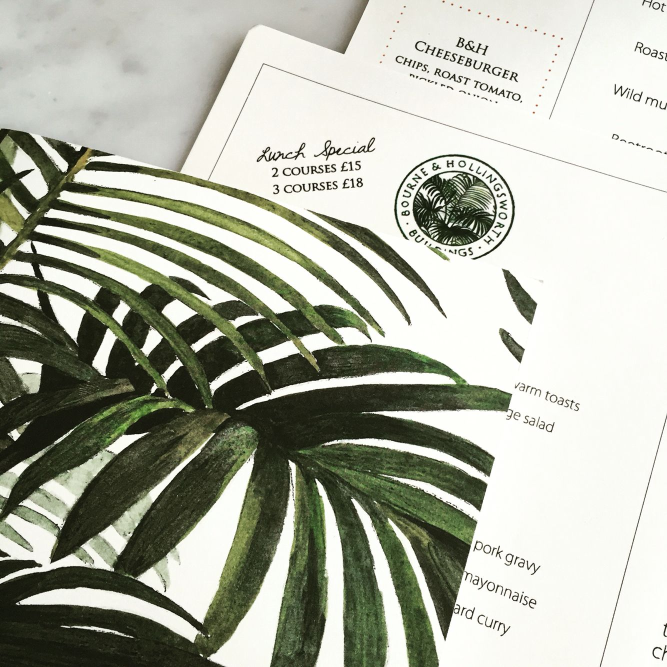 Bourne and hollingsworth palm print cocktail menu loved my lunch