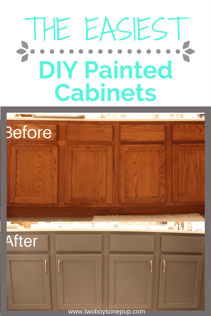 Easy Diy Painted Bathroom Cabinets Two Boys One Pup In 2020 Painting Bathroom Cabinets Painting Cabinets Painting Bathroom