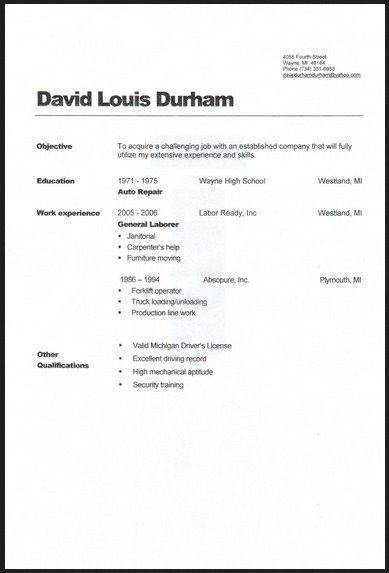 General Labor Warehouse Resume Sample michele Pinterest - objective for resume samples