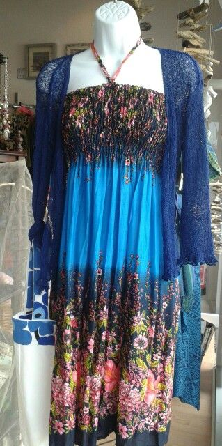 Fair trade holiday. Loose knit shrug, dark blue £11.50 Floral dress / skirt, electric blue £16.50 Locally made upcycled  bag £5.00