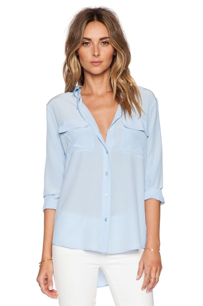 EQUIPMENT Long Sleeve Slim Signature Button Down Silk Blouse Shirt Blue L   214  EQUIPMENT  ButtonDownShirt  EveningOccasion b7edbc657