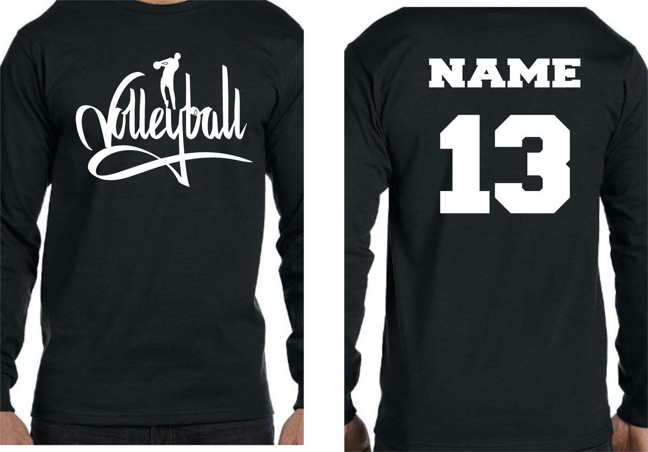 Volleyball Player W Name And Number Long Sleeve Tshirt Volleyball Shirt Designs Volleyball Outfits Funny Volleyball Shirts