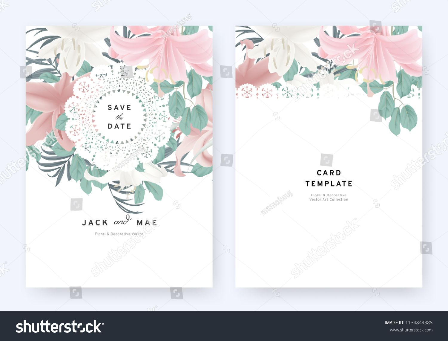 Floral Invitation Card Template Design White Pink Lily
