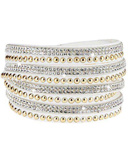 caripe Damen Armband Wickelarmband Glitzer Steine viele Designs + Farben - strala (Modell 2 - weiß-gold) - http://schmuckhaus.online/caripe/modell-2-weiss-gold-caripe-damen-armband-glitzer