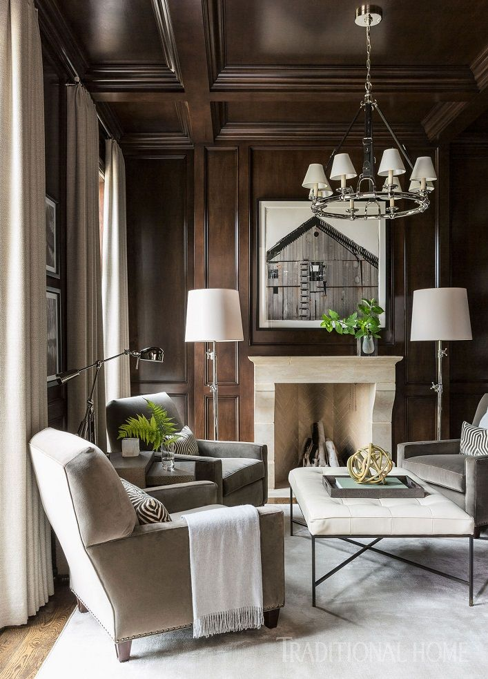 Wood Paneled Library: Inside An Updated Traditional Arkansas Home With Soothing