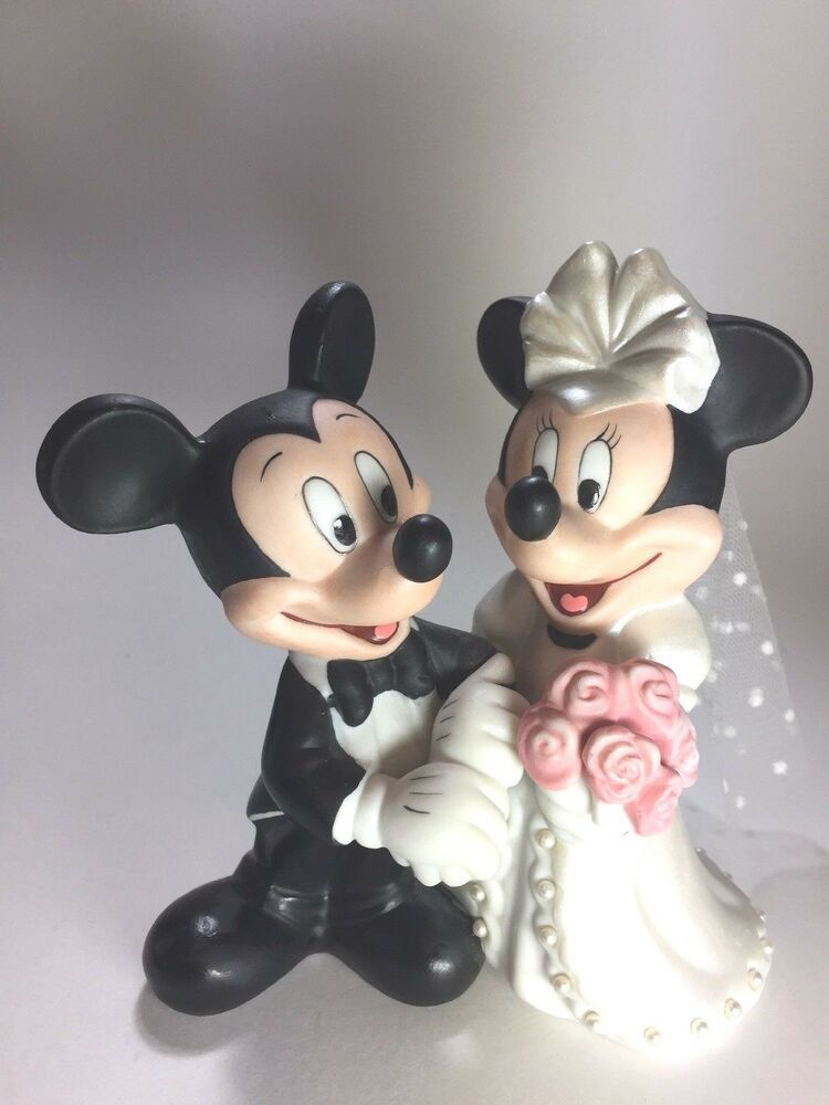 Disney mickey minnie mouse figurine cake topper bride