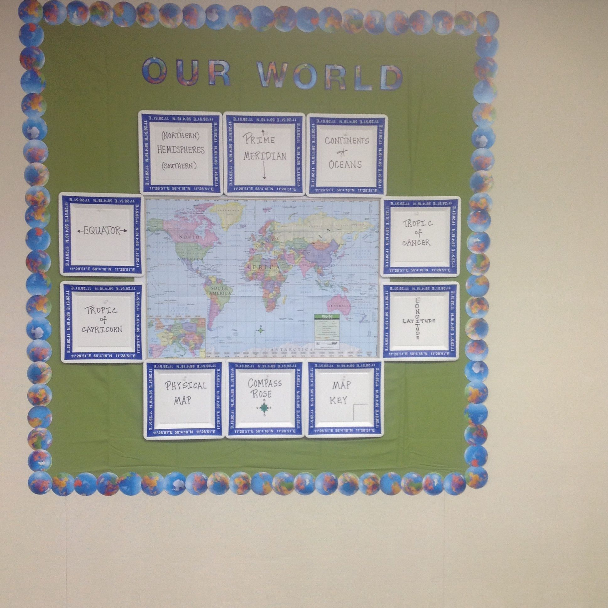 Bulletin board using green sheet from ikea world map and bulletin board using green sheet from ikea world map and vocabulary terms written on gumiabroncs Image collections