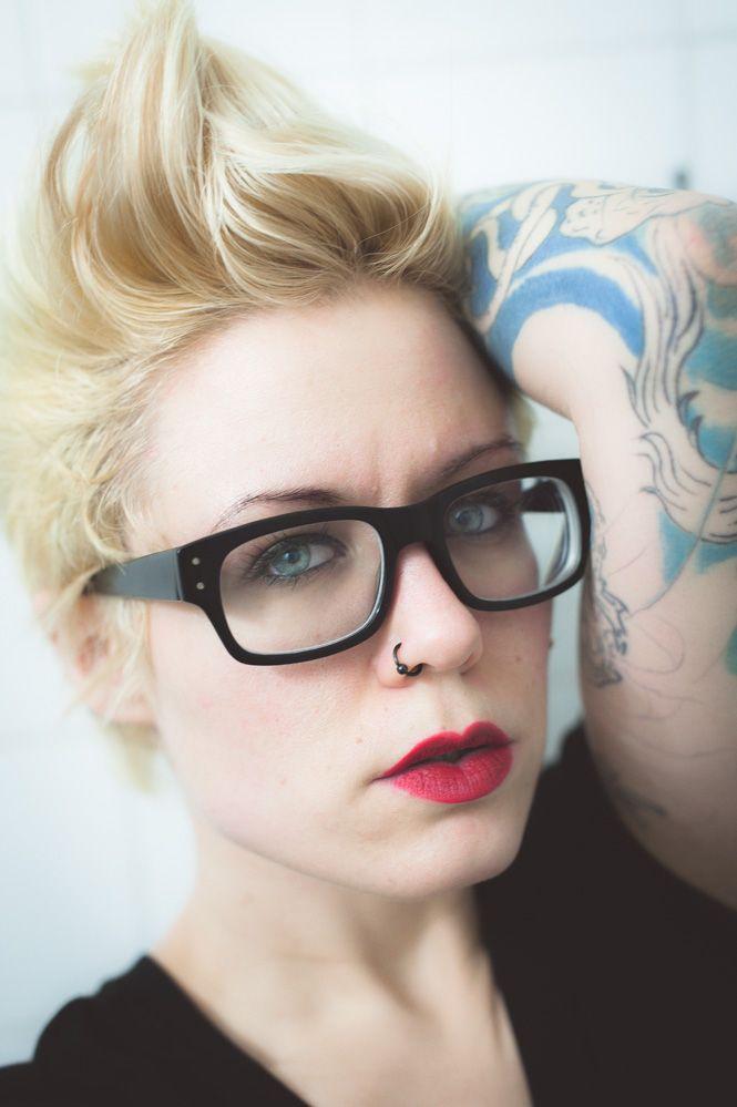 Red Lips Short Hair Blonde Nerd Black Glasses Tattoos
