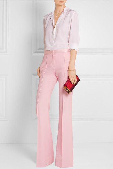 Baby-pink grain de poudre wool  Concealed button, hook and zip fastening at front 100% wool; trim: 100% silk; lining: 100% viscose Dry clean Designer color: Rose Made in France