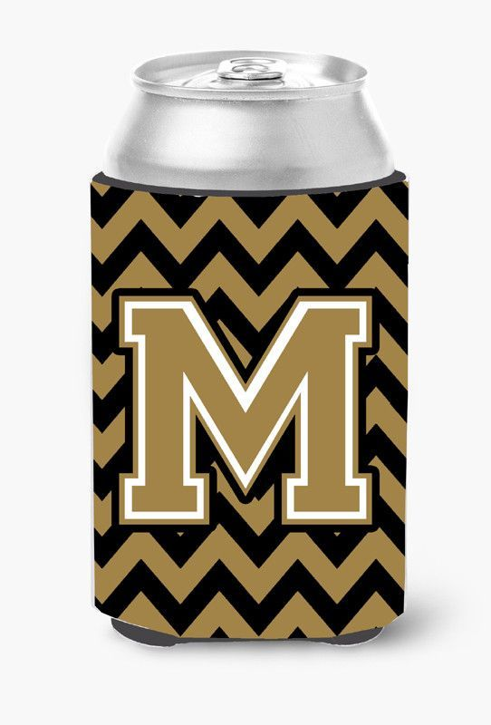 Letter M Chevron Black and Gold Can or Bottle Hugger CJ1050-MCC