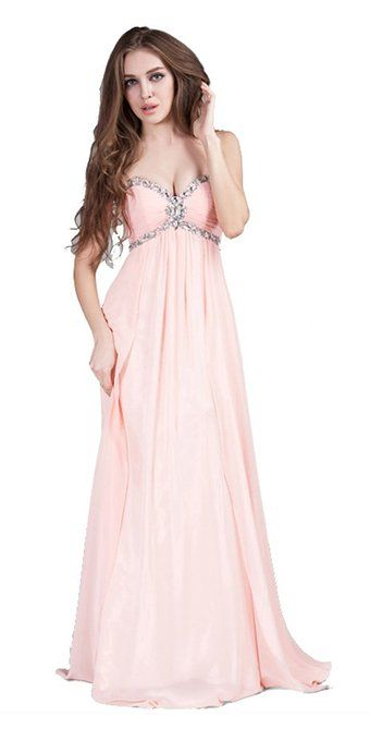 Sexy Sweetheart Cross Beaded Chest Long Prom Dress in Soft Pink (US 6)