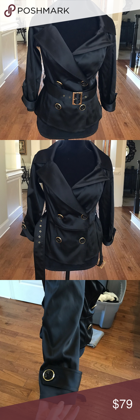 New Cache Satin XS Ladies Jacket Gorgeous fully lined with detachable belt from Cache!  Sz XS.  I hv some satin pants listed separately as well... very classic and never goes out of style! Cache Jackets & Coats Blazers