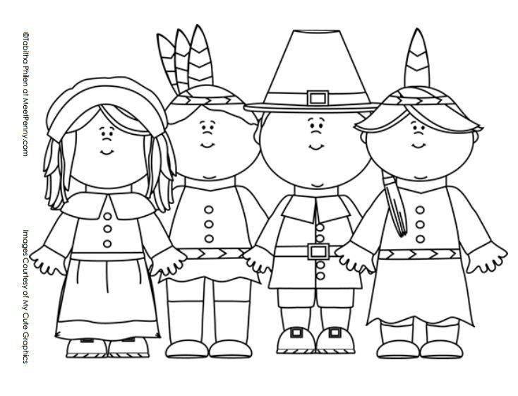 Thanksgiving Pilgrims and Indians Coloring Page | November ...