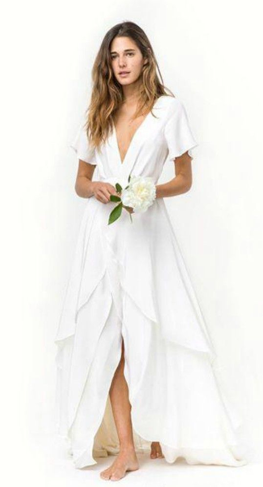 Boho Deep V Flowy Beach Wedding Dress | Beach Wedding | Pinterest