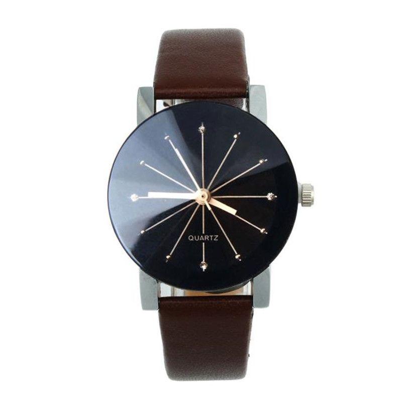 Herren Damen Einfache Casual Luxury Unisex Liebhaber Stunde Quarz Zifferblatt Uhr Armbanduhr Runde Fall Lederband Armbanduhr Relogio