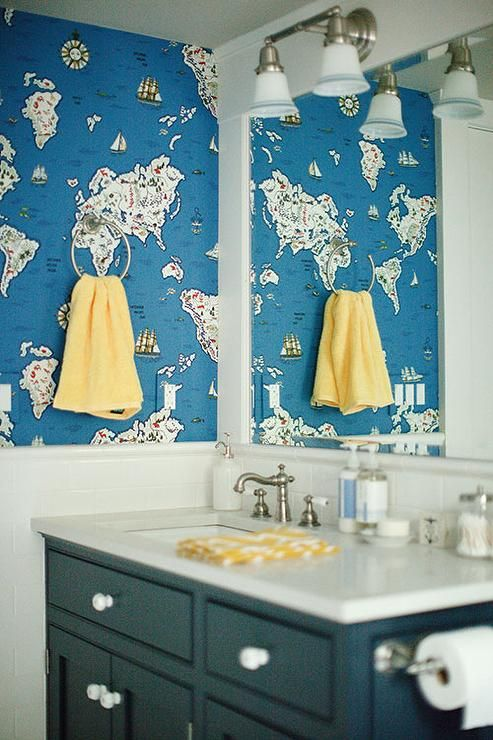 Ralph Lauren Expedition Novelty Map Wallpaper Traditional Bathroom