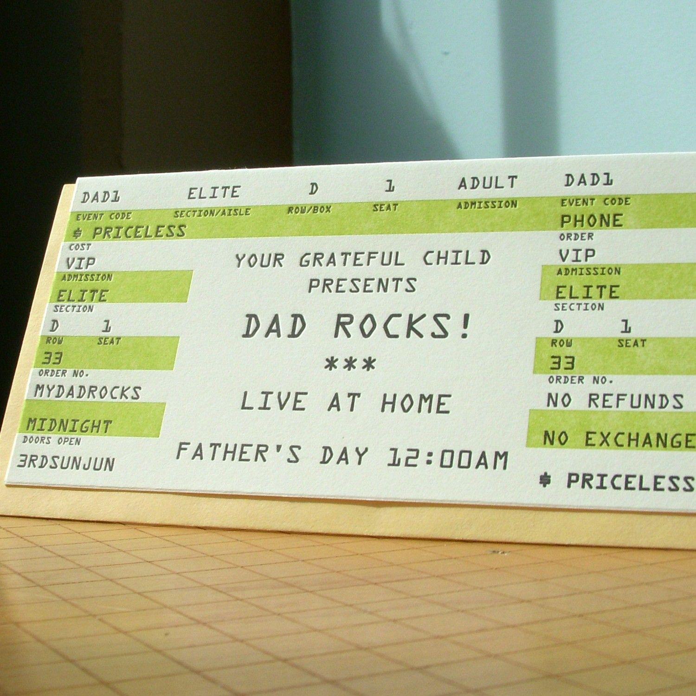 dad rock ticket by afavoritedesign on Etsy, $4.50
