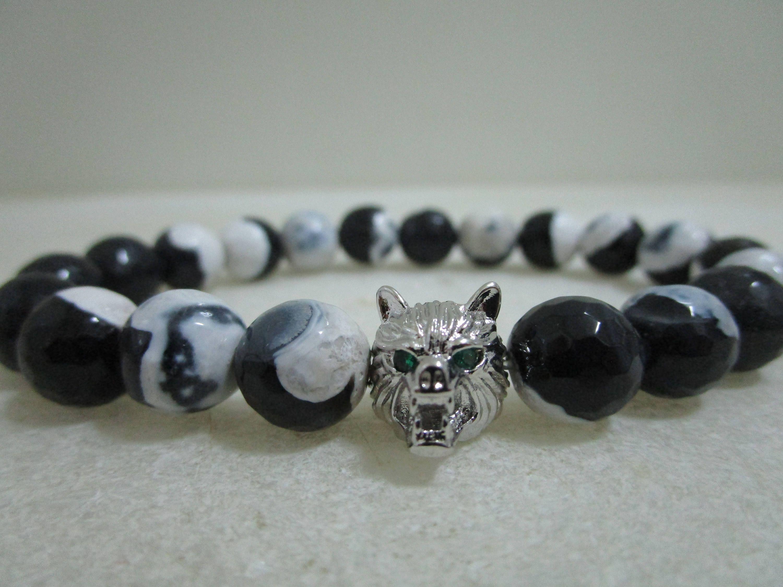 30b610625a65 Lobo Pulsera de agata blanco y negro Pulsera lobo Joyeria lobo Pulseras  para hombre Pulseras de cuentas Regalo para hombre Joyeria de  MystoneworldEstudio en ...