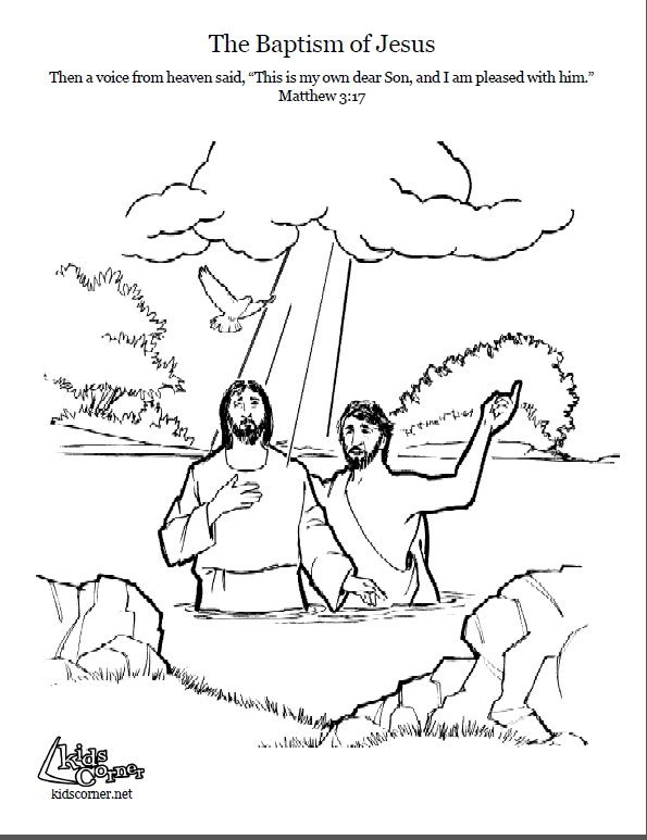 Jesus\' Baptism. Coloring page, script and Bible story. http ...