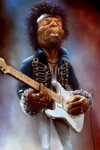 Iphone 4 Wallpaper Hd Caricature Jimi Hendrix Music Artwork