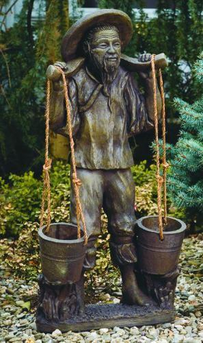 Asian Farmer Sculpture Planter Asian Garden Statue