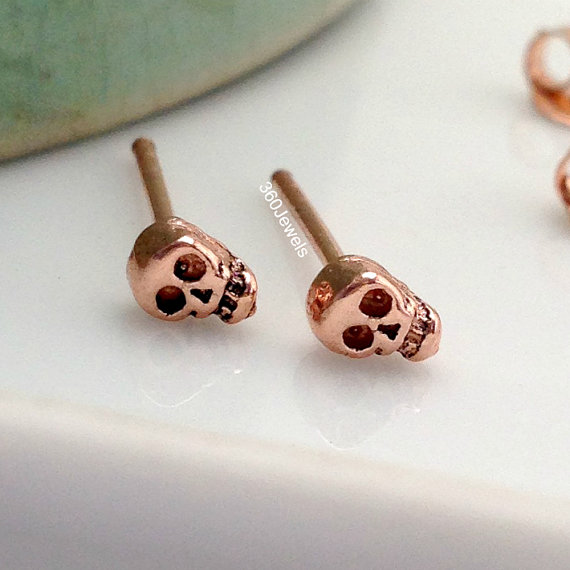 Skull Stud Earrings Rose Gold Plated By 360jewelselite 22 00