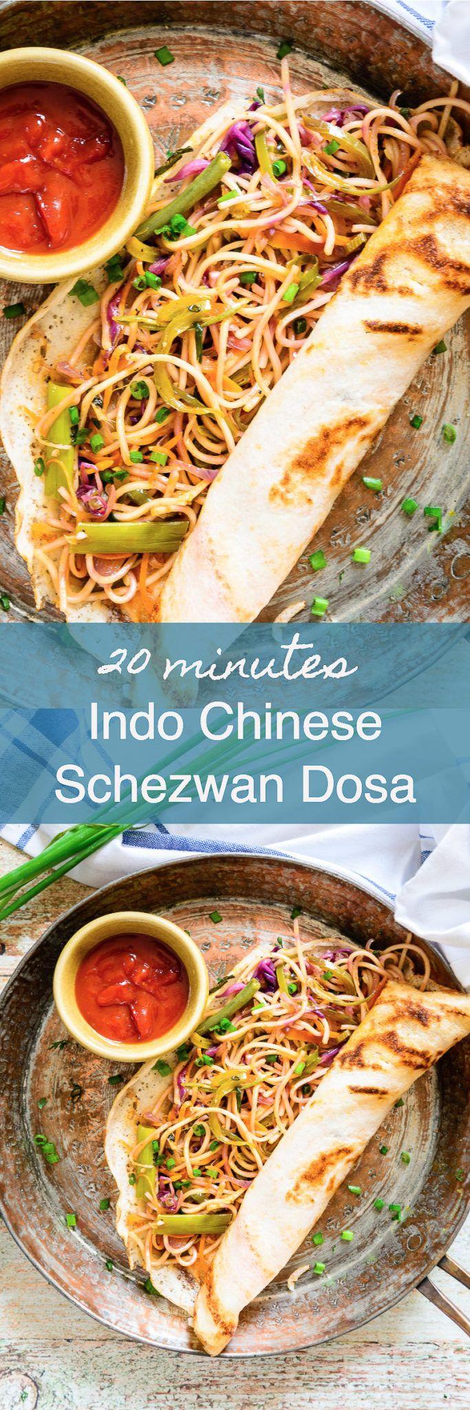 Indo Chinese Schezwan Dosa Recipe, How to make Chinese Dosa at Home ...