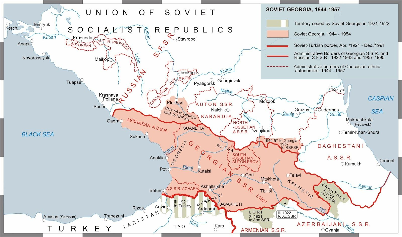 Territorial evolution of Soviet Georgia Kartographie Maps