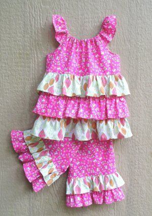 so cute girls ruffle capri pants and flutter sleeve ruffle shirt---sold