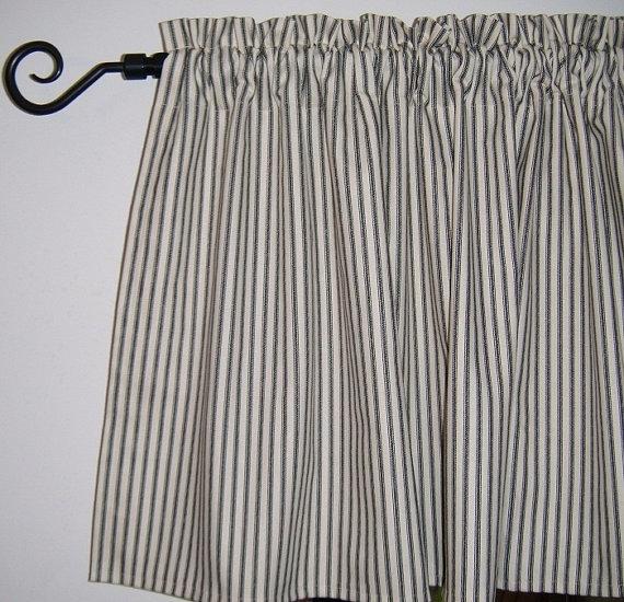 Ticking Stripe Cafe Curtains, Navy Blue, Black, Aqua, Gray ...