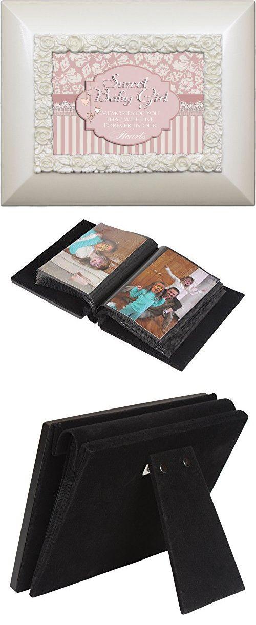 """Sweet Baby Girl"" White Gloss Flip Photo Frame Album - Holds 50 Standard-Sized 4""x6"" Photos"