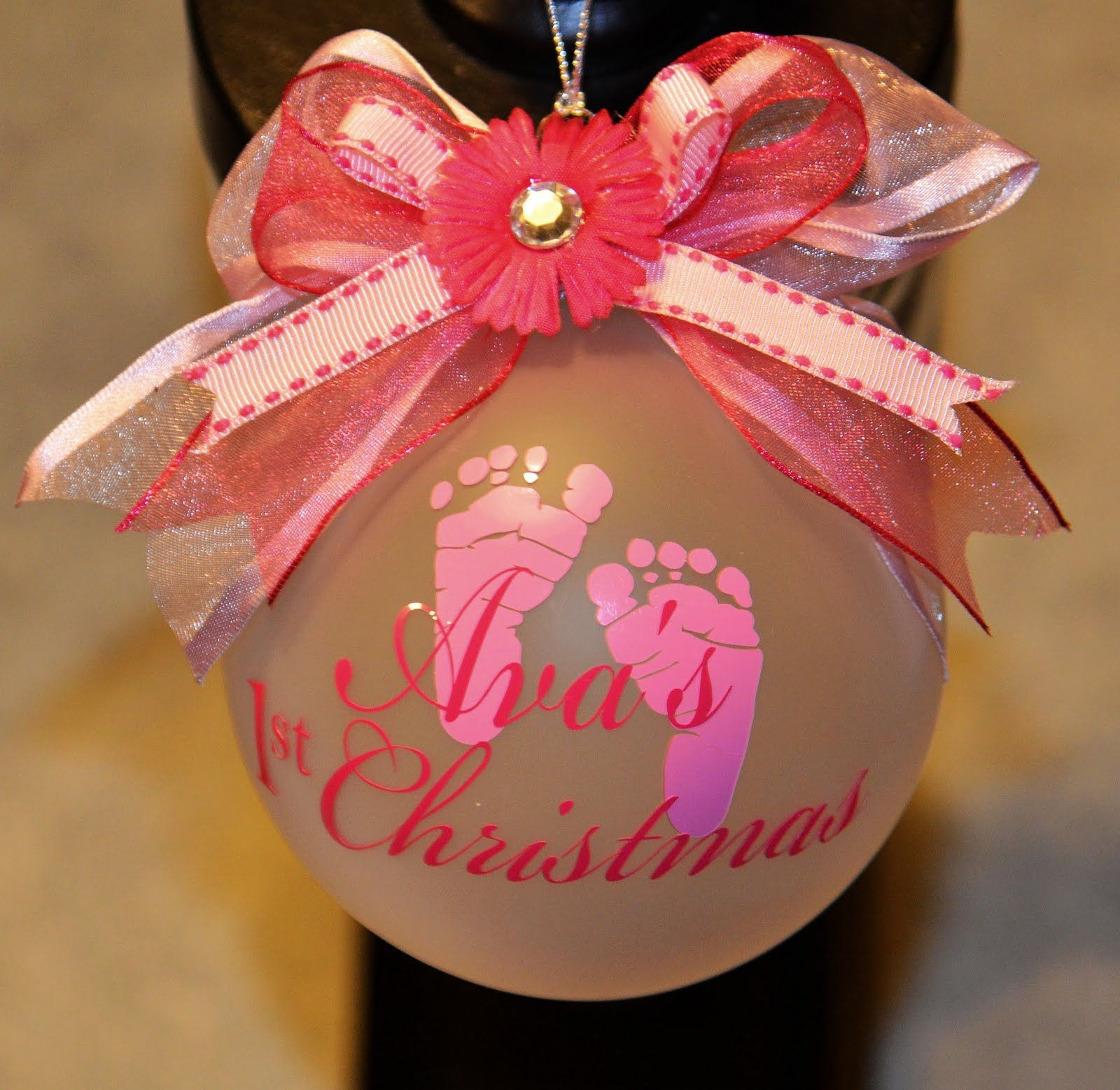 Personalized Christmas Ornament for Baby Girl with Vinyl ...