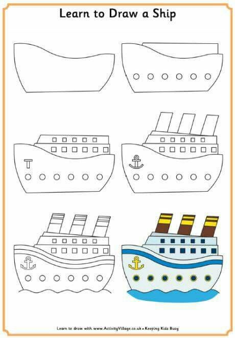 Draw A Steamer Art For Kids In 2019 Pinterest Drawings Boat