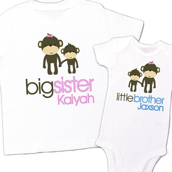 408261a8 matching sibling shirt set monkeys big sister little brother big brother  little brother - monkey personalized sibling t-shirts TWO shirts