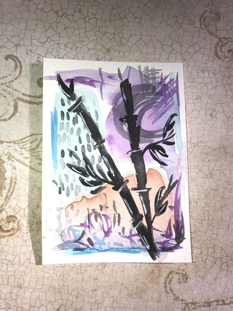 Aceo Original Watercolor Painting Abstract Miniature Bamboo