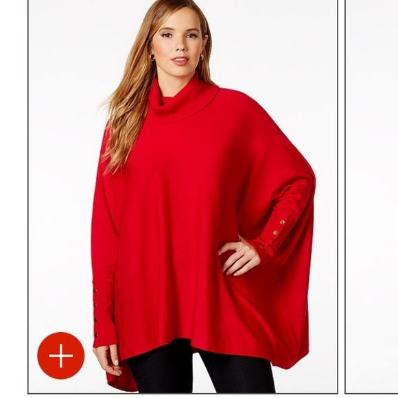 Holiday red special -Red turtleneck poncho Alfani brand size 1x (oversized) pullover turtleneck poncho style. Perfect for Christmas Day! can be belted or wear with leggings or skinny jeans  74% rayon, 26% polyester. Very comfortable! 😃. Worn only once!  (Please be aware that I need up to 1-5 days to ship once purchased due to illness.) Alfani Sweaters Cowl & Turtlenecks