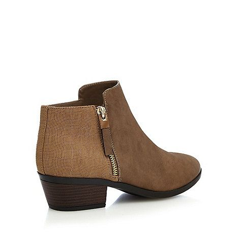 Taupe 'Gunson' mid block heel ankle boots cheap sale shop offer YpceBCF9