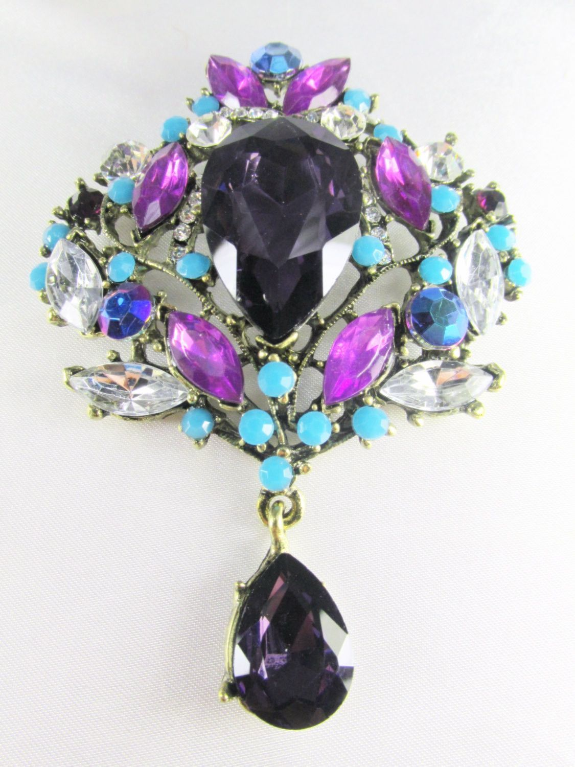 Purple Blue Turquoise XL Crystal Teardrop Brooch