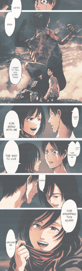 """""""It's just a scarf. I'll wrap it around you as many times as you want. From now on, I will always wrap it for you"""" Shingeki no Kyojin - Ch50    Colored by ❀"""