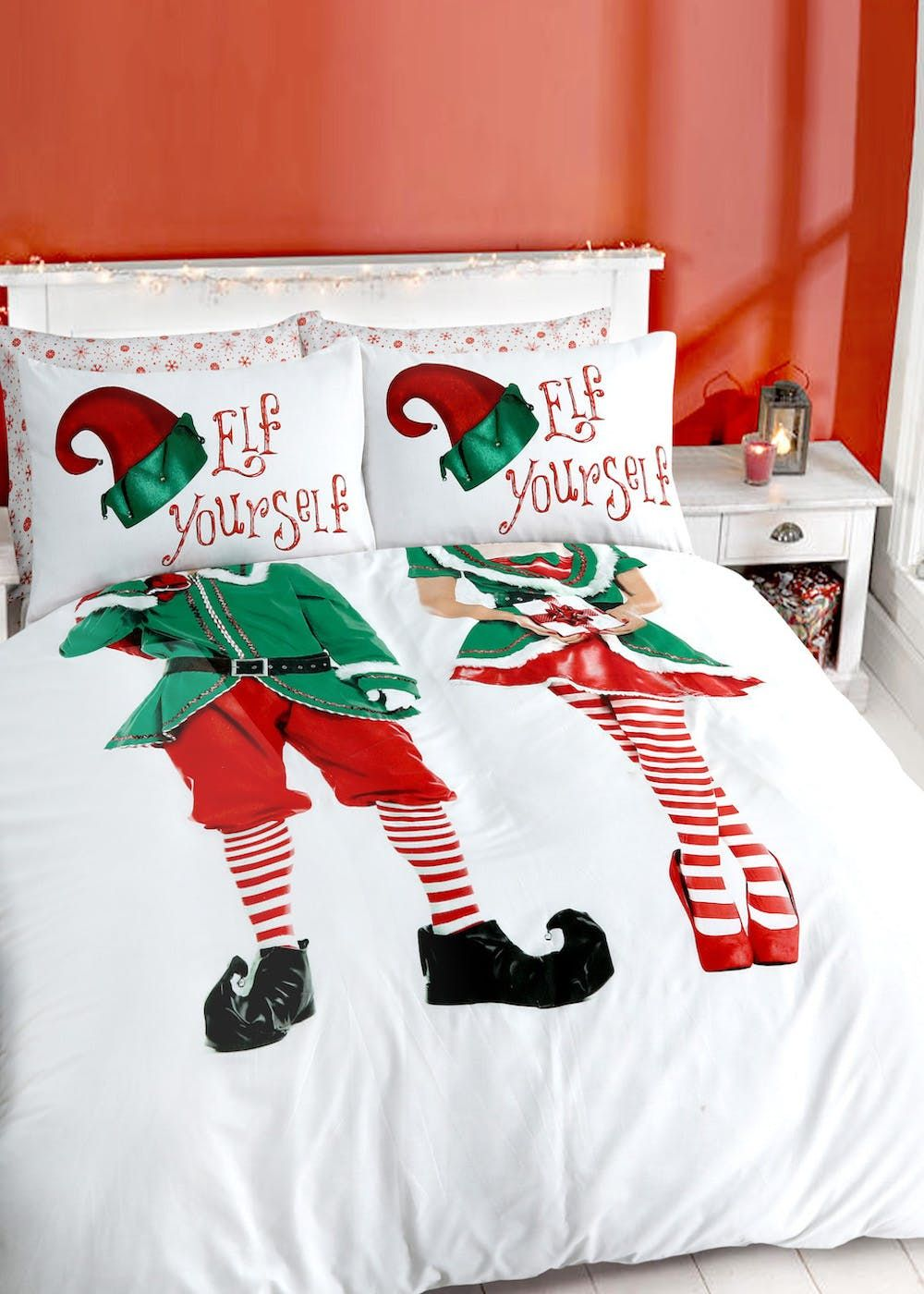 His & Hers Elf Yourself Christmas Duvet Cover Red