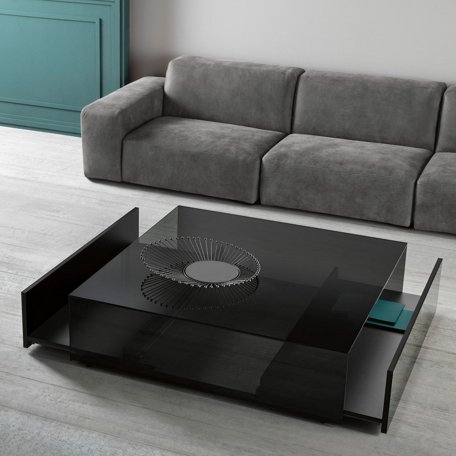 Low Black Table Ghotam Square Smoked Glass Coffee Table With 2 Drawers