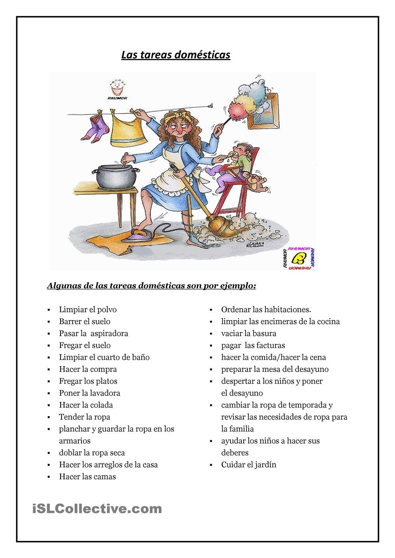 Las Tareas De La Casa En 2020 Tareas De Casa Actividades De Espanol Ejercicios De Espanol