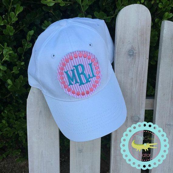 9a191ee1695 Preppy Seersucker Baseball Hat ,Polka Dot Border Ladies Ball Cap, Raggy  Patch Monogram Hat, Seersucker Preppy Hat Messy hair- dont care! Perfect